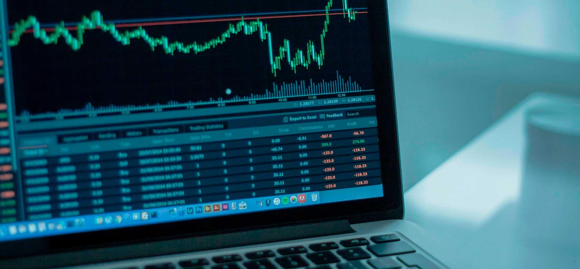 Una gráfica en la pantalla de una laptop