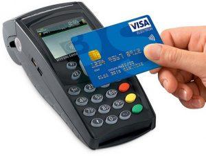 terminal para tarjeta y tarjeta bancaria